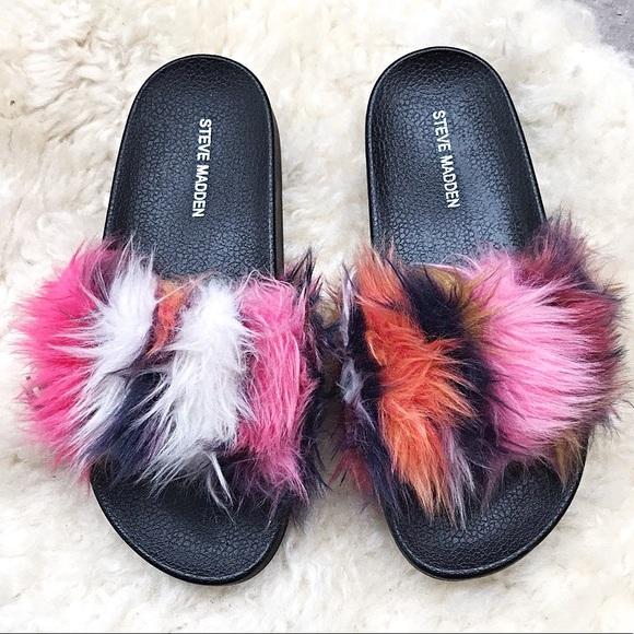 a5c69a5fee8 Steve Madden Softey Sandals Multi-Color Faux Fur